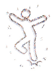 people in the form of a dancing man.