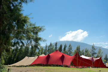 Red and tan marquee tents
