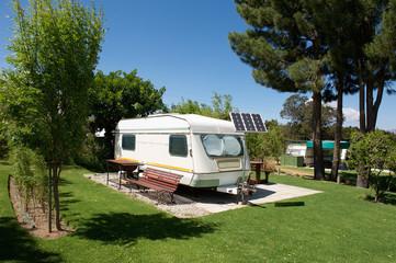 Caravan in campsite
