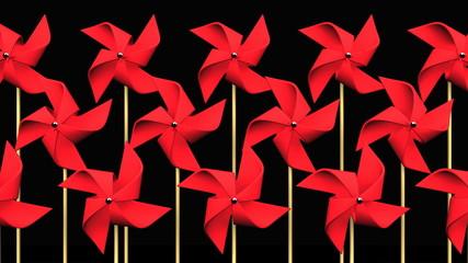 Red Pinwheels On Black Background