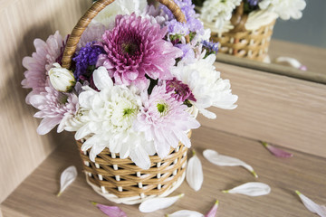 Chrysanthemum flower in the basket