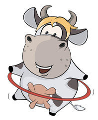 A small cow and a hula hoop. Cartoon