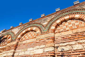 Old stone wall with ancient pattern, Church in Nessebar