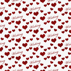 Red and White I Love Writing Tile Pattern Repeat Background