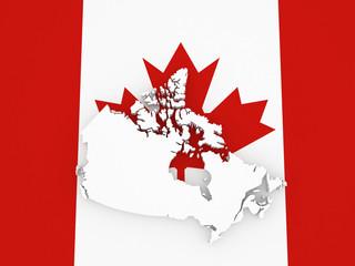 Three-dimensional map of Canada.