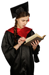 Beautiful graduate girl student in mantle with book