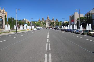Queen Maria-Christina Avenue in Barcelona, Spain