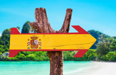 Spain Flag wooden sign with beach background