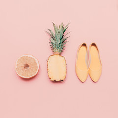 Fashion ladies summer style set. Vanilla fruits and shoes