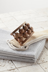 cotton towel with exfoliation and massage accessories
