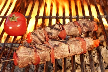 Grilled Beef Kababs On The Hot BBQ Grill Close-up
