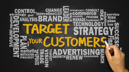 target your customers with related word cloud handwritten on bla