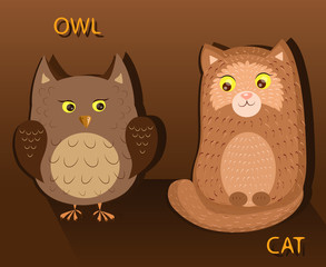 Owl and Cat opposite each other