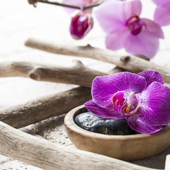natural elements for beauty treatment with ordchids background