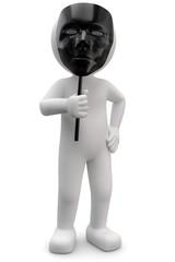 3d Männchen mit schwarzer Maske