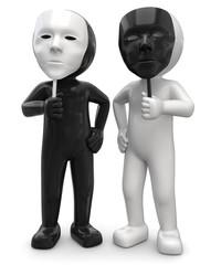 3d Männchen schwarz und weiss mit Masken