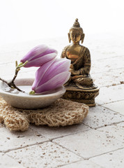 magnolia for beauty and Buddha for zen breathing