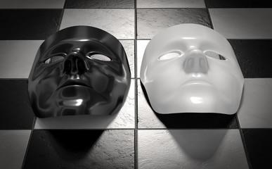 Masken schwarz weiss Schachbrett Fliesen