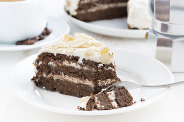 piece of delicious chocolate cake with cream