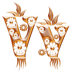 V letter - Ornamental Initial in gold on white background.