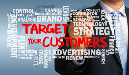 target your customers with related word cloud handwritten by bus