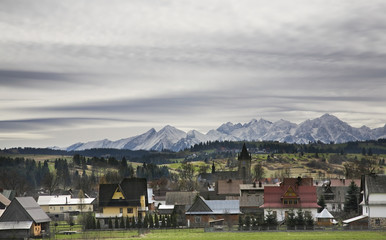 Village Szaflary and mountain near Zakopane. Poland