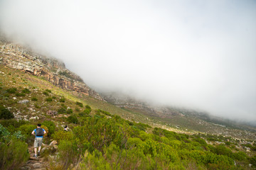 Hikers climbing Table Mountain via Platteklip Gorge.  Table Moun