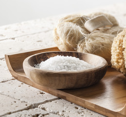 bath salt on wooden tray for spa treatment