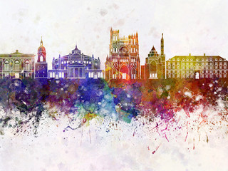 Amiens skyline in watercolor background