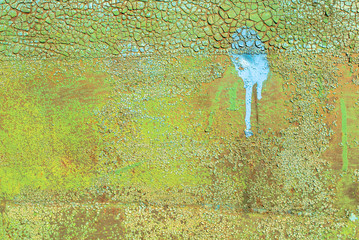 iron surface is covered with old paint