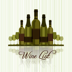 Wine list for menu - green design