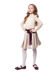 Pretty little girl wearing holiday dress isolated