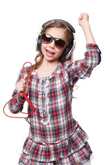 Girl With Glasses and Headphones Singing