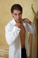 Italian model with elegant dress white shirt