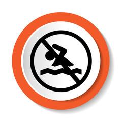 Круглый векторный знак, запрещающий плавать.