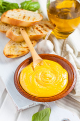 Mayonnaise sauce, with garlic, egg yolk and olive oil