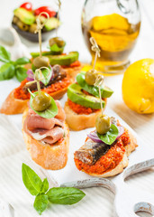 Spanish tapas pinchos with different fillings