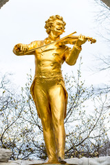 Close up statue of Johann Strauss,  Stadtpark in Vienna, Austria