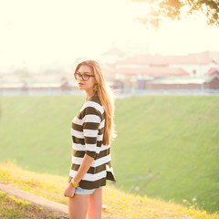 beautiful girl in hipster glasses