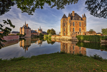 Picturesque castle on the lake in the Loire Valley in France