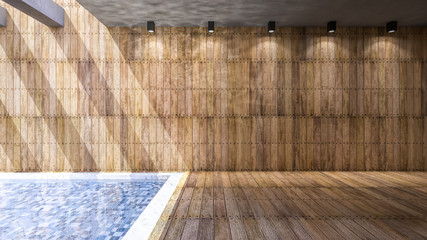 Room interior wooden and pool
