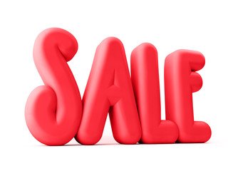 3D Rendered Illustration of Red Sale Word Title Standing
