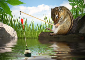 Funny chipmunk fishing with fishing-rod, angler concept