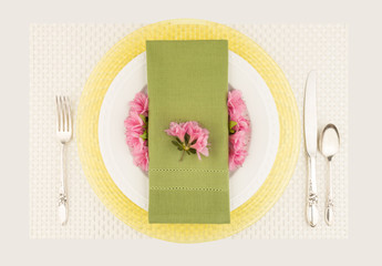 Pastel table setting top view