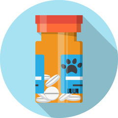 Container with pills .Prescription Medicine for Animal