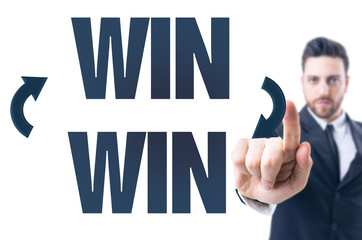 Business man pointing the text: Win Win