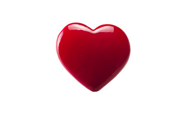 A red heart close up on white background