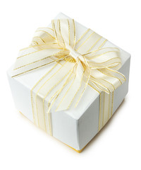 white gift box isolated on a white background