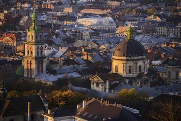 morning panoramic view of Lviv
