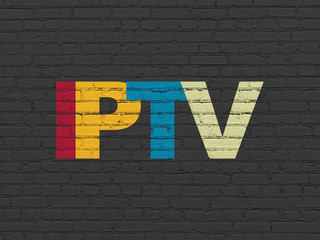 Web design concept: IPTV on wall background